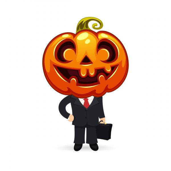 Businessman With Pumpkin on a Head. Isolated on White Background. In the EPS file, each element is grouped separately. Clipping paths included in additional jpg format.